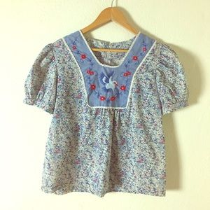 Tops - Vintage 1970s Floral Blouse with Embroidered Bird
